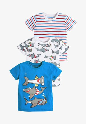 BLUE/WHITE 3 PACK INTERACTIVE SHARK T-SHIRTS (3MTHS-7YRS) - Triko s potiskem - blue