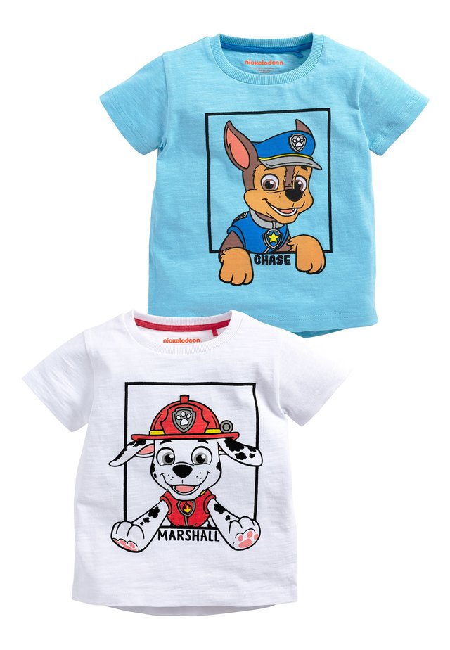 BLUE AND WHITE 2 PACK PAW PATROL SHORT SLEEVE T-SHIRTS (6MTHS-8Y - Printtipaita - blue