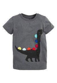 Next - BLACK SHORT SLEEVE DINO T-SHIRT (3MTHS-7YRS) - Print T-shirt - grey - 0