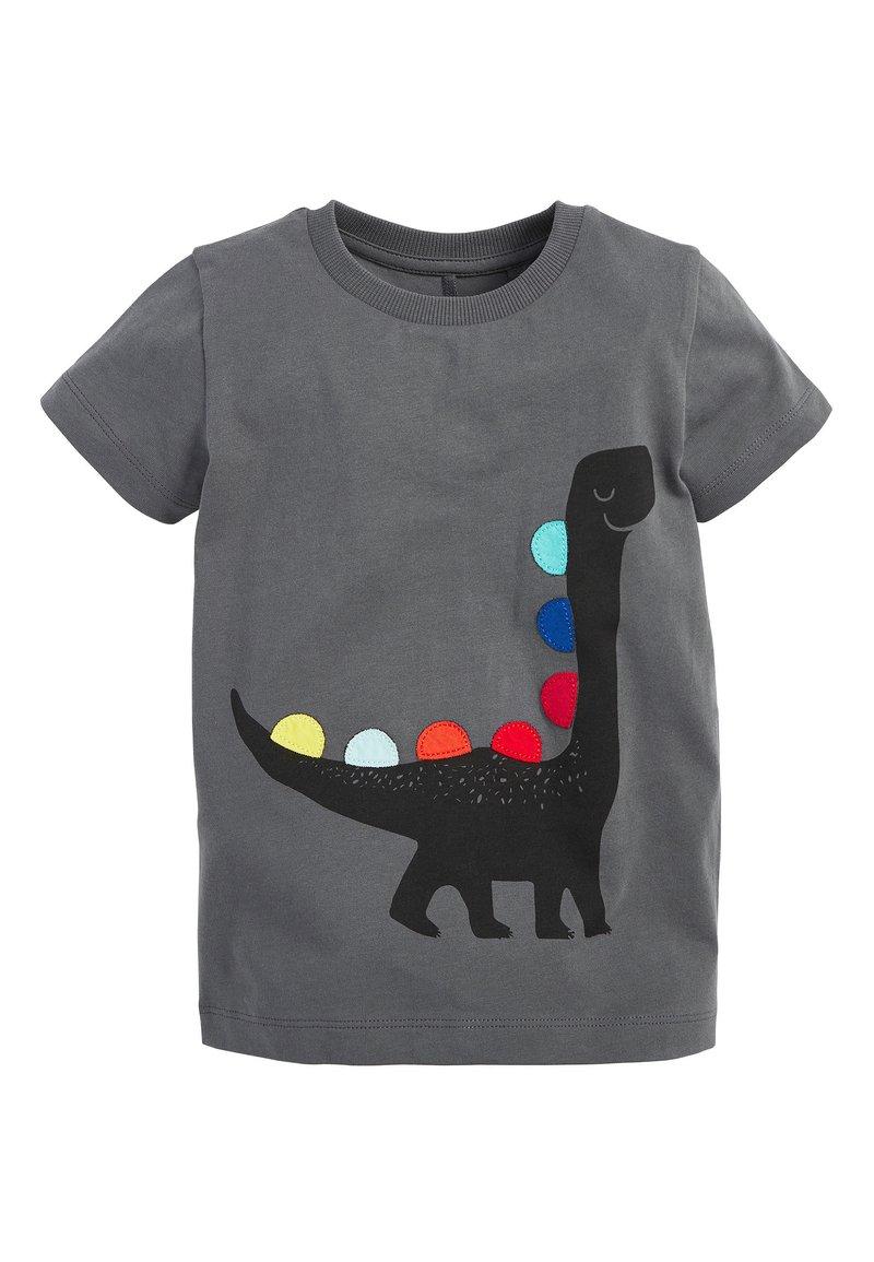 Next - BLACK SHORT SLEEVE DINO T-SHIRT (3MTHS-7YRS) - Print T-shirt - grey