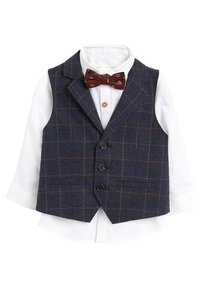 Next - NAVY CHECK WAISTCOAT, SHIRT AND BOW TIE SET (3MTHS-7YRS) - Chaleco - blue - 0
