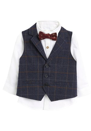 NAVY CHECK WAISTCOAT, SHIRT AND BOW TIE SET (3MTHS-7YRS) - Veste sans manches - blue