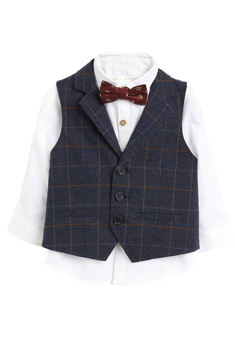 Next - NAVY CHECK WAISTCOAT, SHIRT AND BOW TIE SET (3MTHS-7YRS) - Chaleco - blue