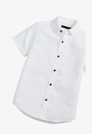 WHITE SHORT SLEEVE LINEN MIX SHIRT (3-16YRS) - Shirt - white