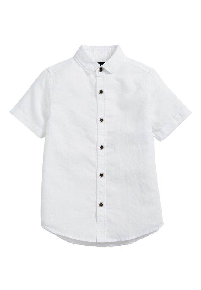 WHITE SHORT SLEEVE LINEN MIX SHIRT (3-16YRS) - Chemise - white