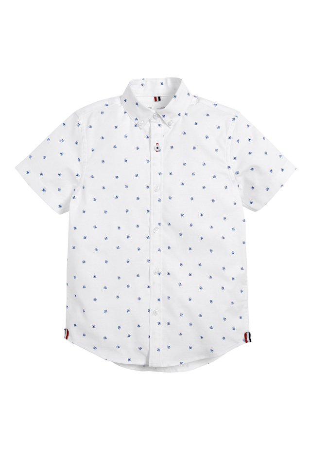 WHITE SHORT SLEEVE ALL OVER PRINT OXFORD SHIRT (3-16YRS) - Shirt - white