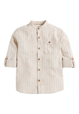 NEUTRAL STRIPE ROLL SLEEVE GRANDAD - Koszula - beige
