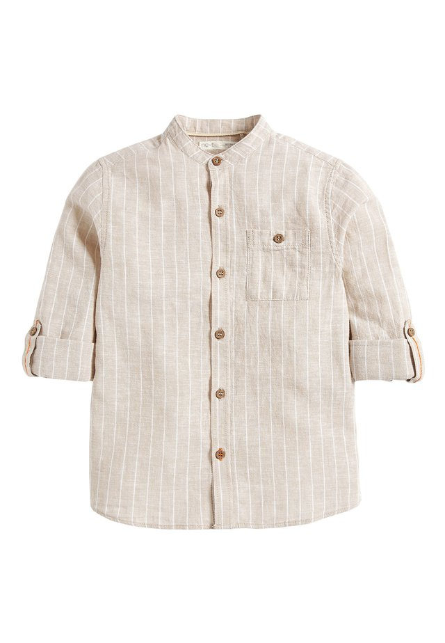 NEUTRAL STRIPE ROLL SLEEVE GRANDAD - Shirt - beige