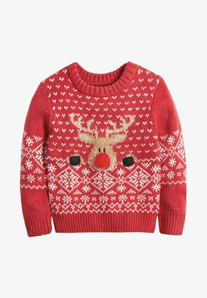 CHRISTMAS REINDEER  (3MTHS-7YRS) - Strikpullover /Striktrøjer - red