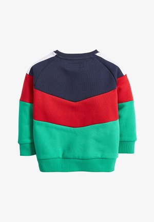 GREEN/NAVY COLOURBLOCK CREW NECK TOP (3MTHS-7YRS) - Trui - blue