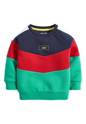 GREEN/NAVY COLOURBLOCK CREW NECK TOP (3MTHS-7YRS) - Pullover - blue