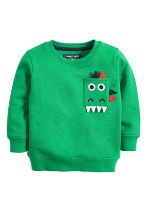 GREEN DINO POCKET CREW NECK SWEATER (3MTHS-7YRS) - Trui - green