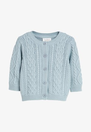 NAVY CABLE KNIT CARDIGAN (0MTHS-3YRS) - Cardigan - mottled blue