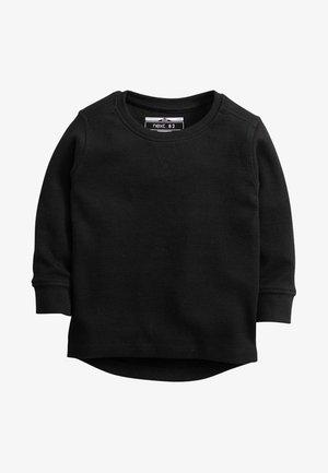 BLACK LONG SLEEVE TEXTURED T-SHIRT (3MTHS-7YRS) - Trui - black