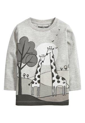 GREY MARL LONG SLEEVE GIRAFFE T-SHIRT (3MTHS-7YRS) - Long sleeved top - grey