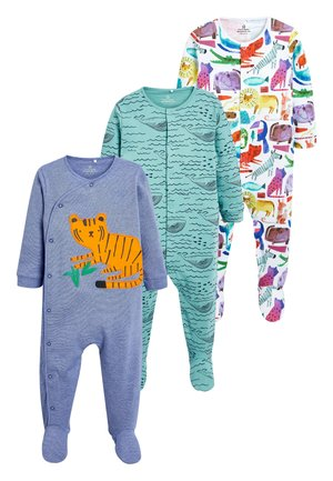 GREEN 3 PACK TIGER SLEEPSUITS (0MTHS-2YRS) - Pyjama - blue