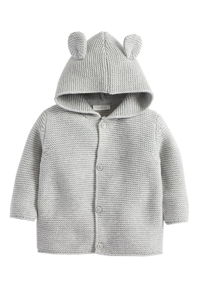 Next - GREY KNITTED BEAR CARDIGAN (0MTHS-3YRS) - Vest - grey