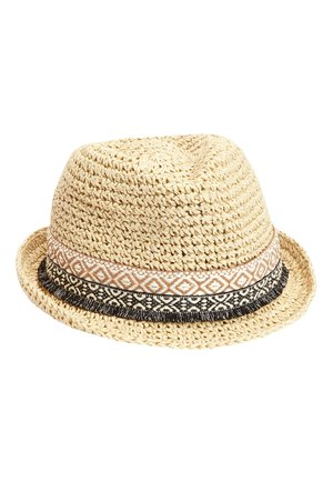 STRAW TRIM TRILBY HAT (OLDER) - Hat - beige