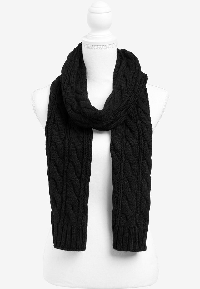 BLACK CABLE SCARF - Schal - black