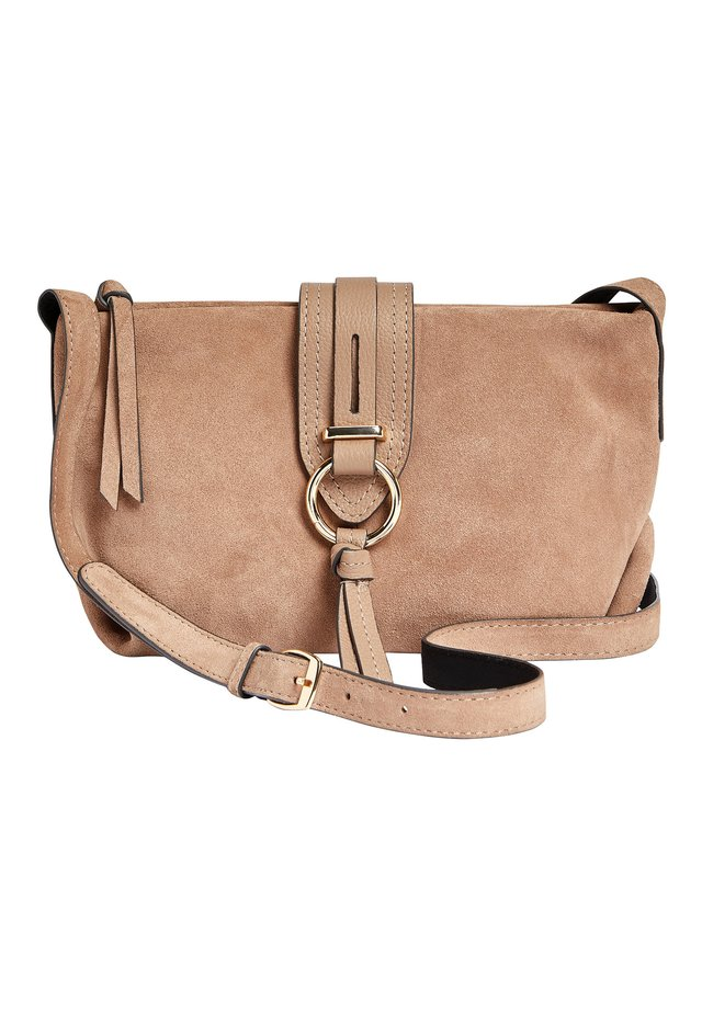 MINK LEATHER AND SUEDE ACROSS-BODY BAG - Axelremsväska - beige