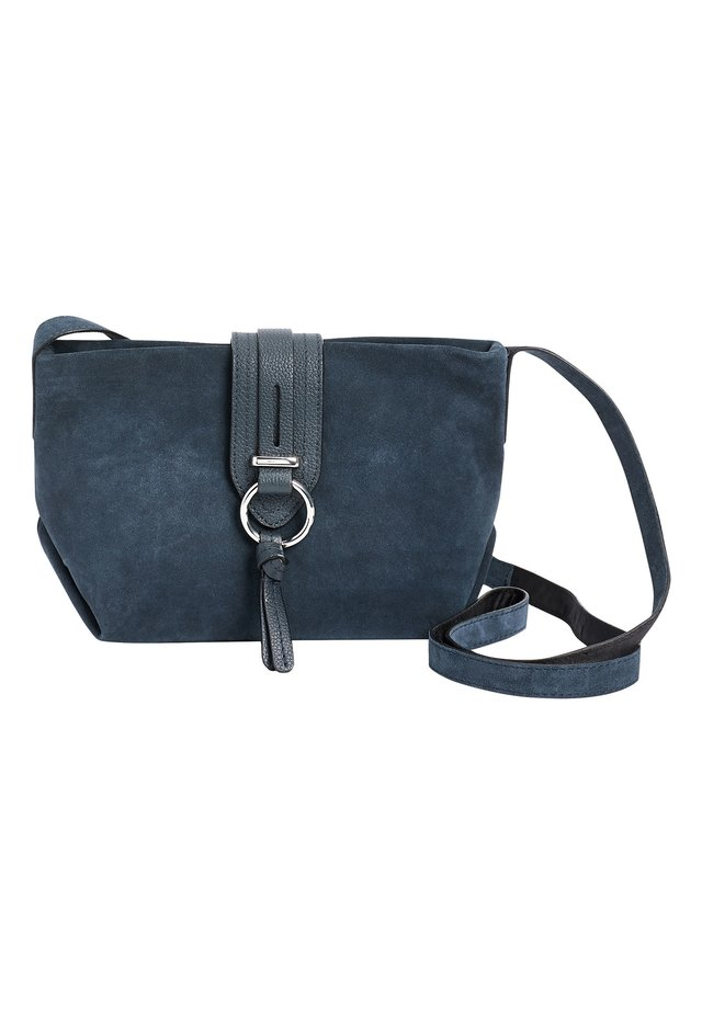 MINK LEATHER AND SUEDE ACROSS-BODY BAG - Axelremsväska - blue