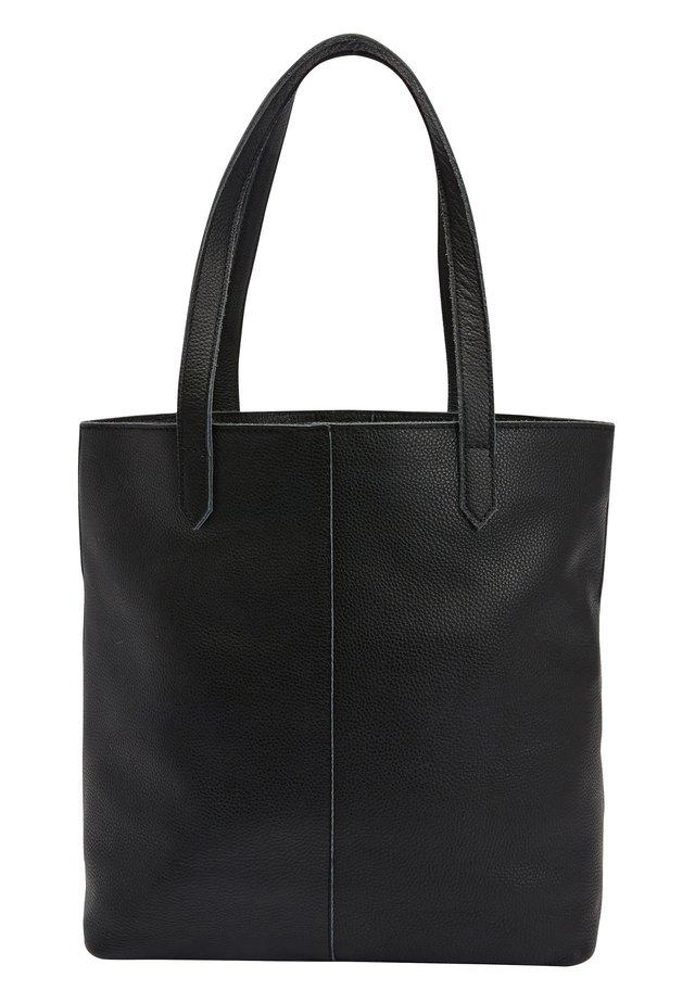 BLACK LEATHER FRONT POCKET SHOPPER BAG - Shopping Bag - black