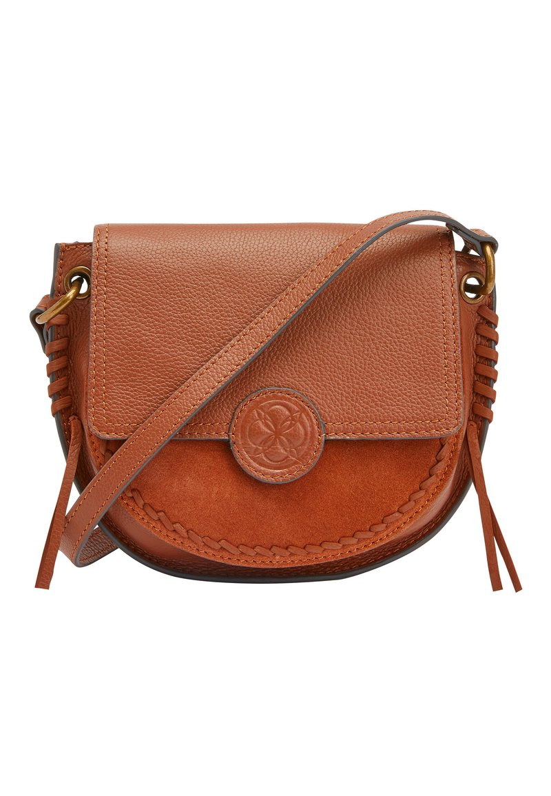 Next - TAN LEATHER STITCH AND EMBOSSED DETAIL SADDLE BAG - Torba na ramię - beige