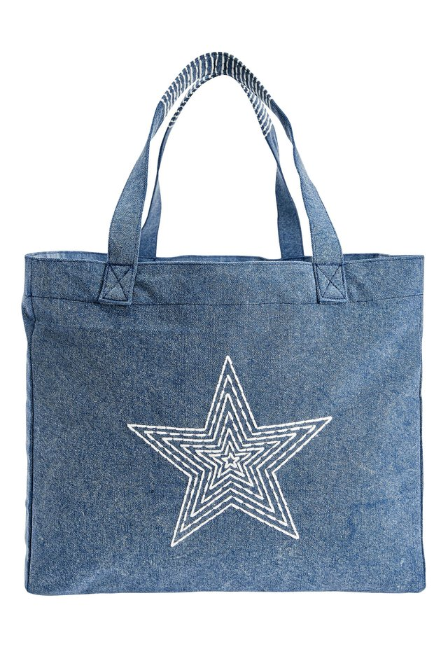 WASHED EMBROIDERED BEACH BAG - Handtasche - blue