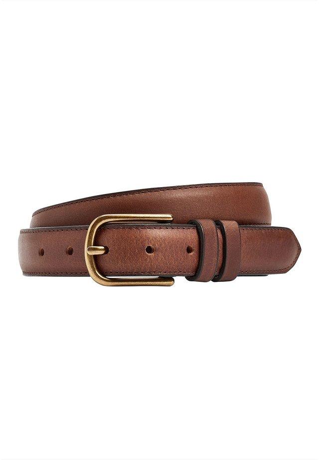 TAN LEATHER EDGE STITCHED BELT - Belt - brown