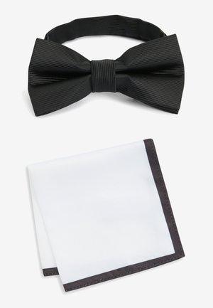 BLACK/WHITE BOW TIE AND POCKET SQUARE SET - Pochet - black