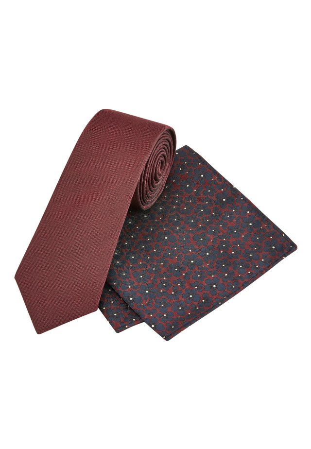 BURGUNDY TIE WITH FLORAL POCKET SQUARE - Tie - red