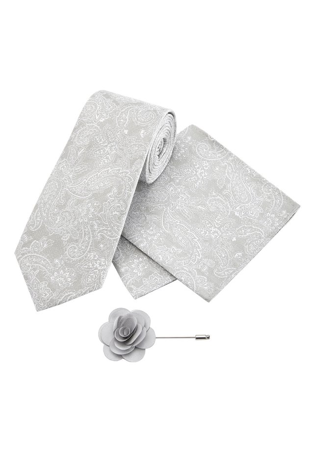 SILVER WIDE PAISLEY PATTERN TIE WITH POCKET SQUARE AND PIN SET - Pocket square - silver