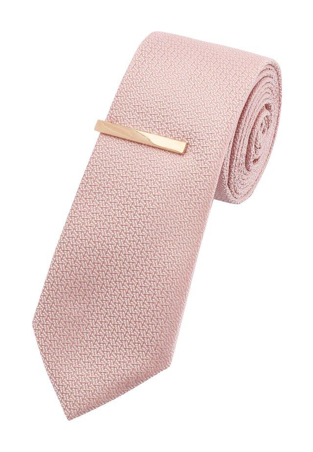 NAVY TEXTURED TIE WITH TIE CLIP - Tie - pink
