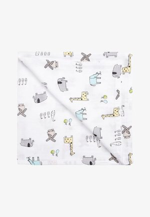 PRINT 2 PACK ANIMAL AND STAR MUSLIN SQUARES - Kravletæpper - white
