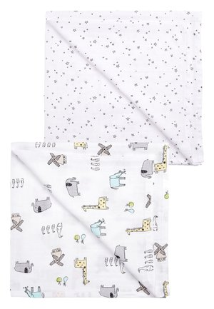 PRINT 2 PACK ANIMAL AND STAR MUSLIN SQUARES - Play mat - white