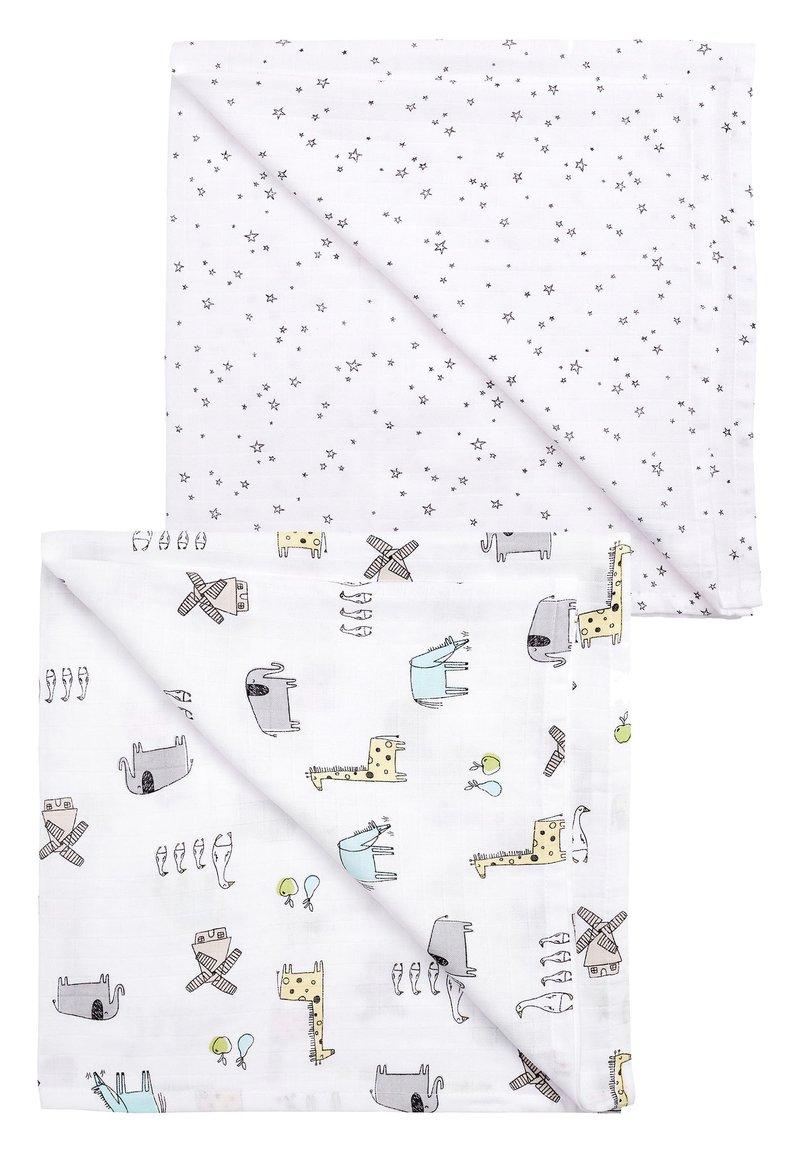 Next - PRINT 2 PACK ANIMAL AND STAR MUSLIN SQUARES - Tapis d'éveil - white