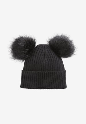 BLACK DOUBLE POM BEANIE HAT (OLDER) - Huer - black