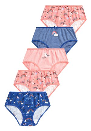 NAVY/CORAL 5 PACK UNICORN RAINBOW BRIEFS (2-16YRS) - Slip - pink