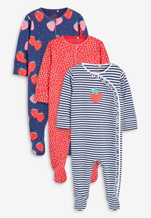NAVY/RED 3 PACK STRAWBERRY SLEEPSUITS (0MTHS-2YRS) - Pigiama - blue