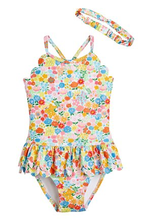 MULTI DITSY 2 PIECE SET SWIMSUIT AND HEADBAND (3MTHS-7YRS) - Plavky - pink