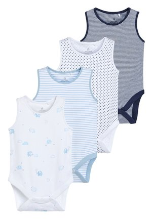 BLUE/WHITE 4 PACK ELEPHANT VEST BODYSUITS (0MTHS-3YRS) - Body - blue