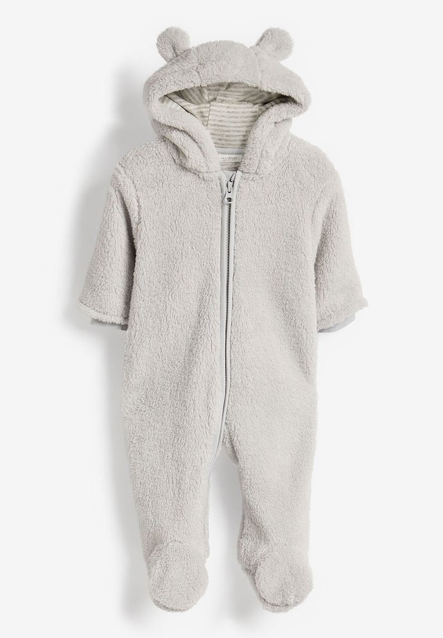 ECRU COSY FLEECE BEAR PRAMSUIT (0MTHS-2YRS) - Overall / Jumpsuit - grey