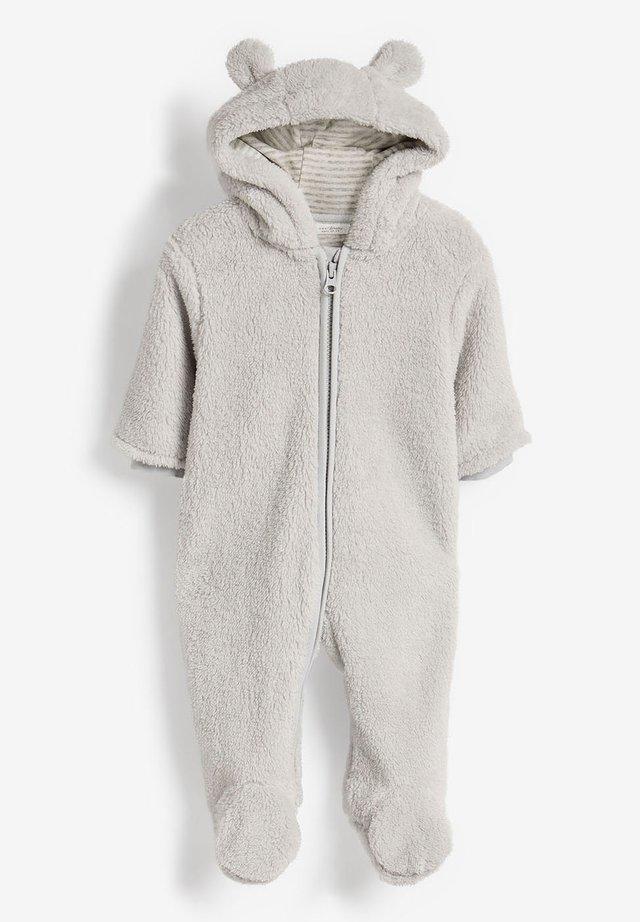 ECRU COSY FLEECE BEAR PRAMSUIT (0MTHS-2YRS) - Jumpsuit - grey
