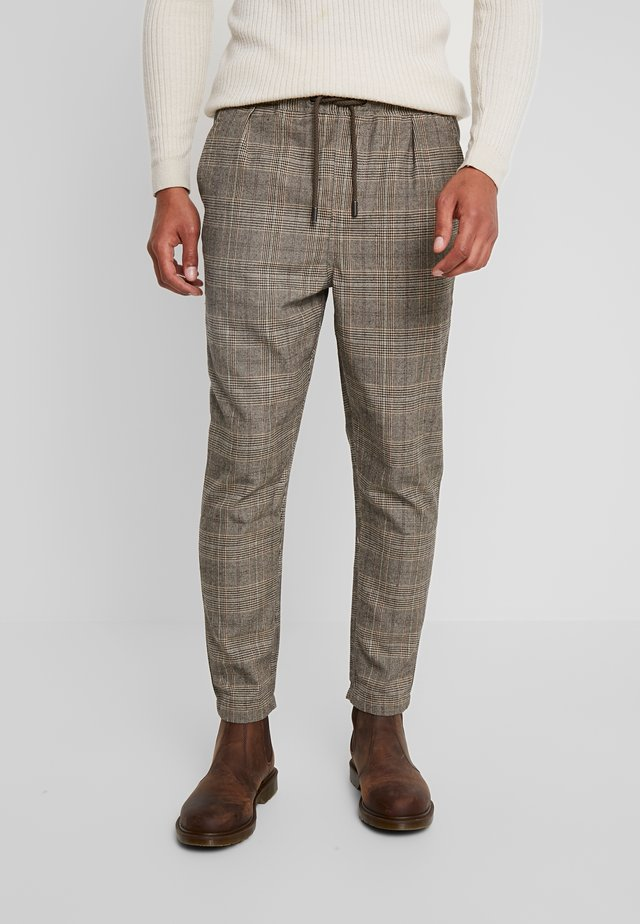 WICKER PLAID PANT - Tygbyxor - brown