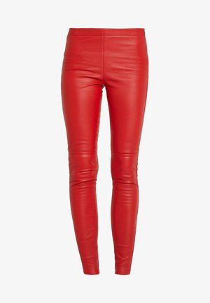 ANTARES - Leather trousers - red