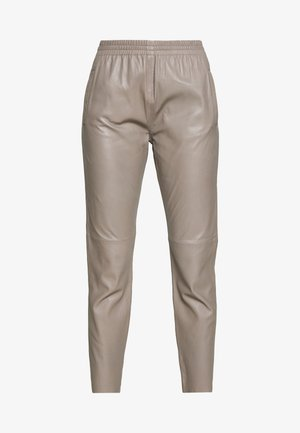 GIFTER - Leather trousers - mastic