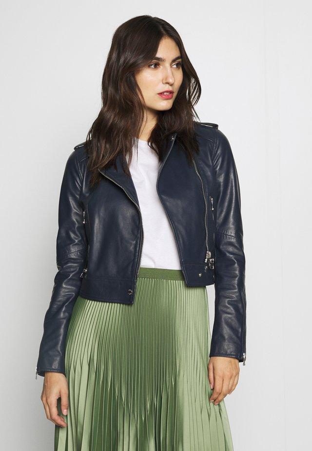 YOKO - Leather jacket - navy blue
