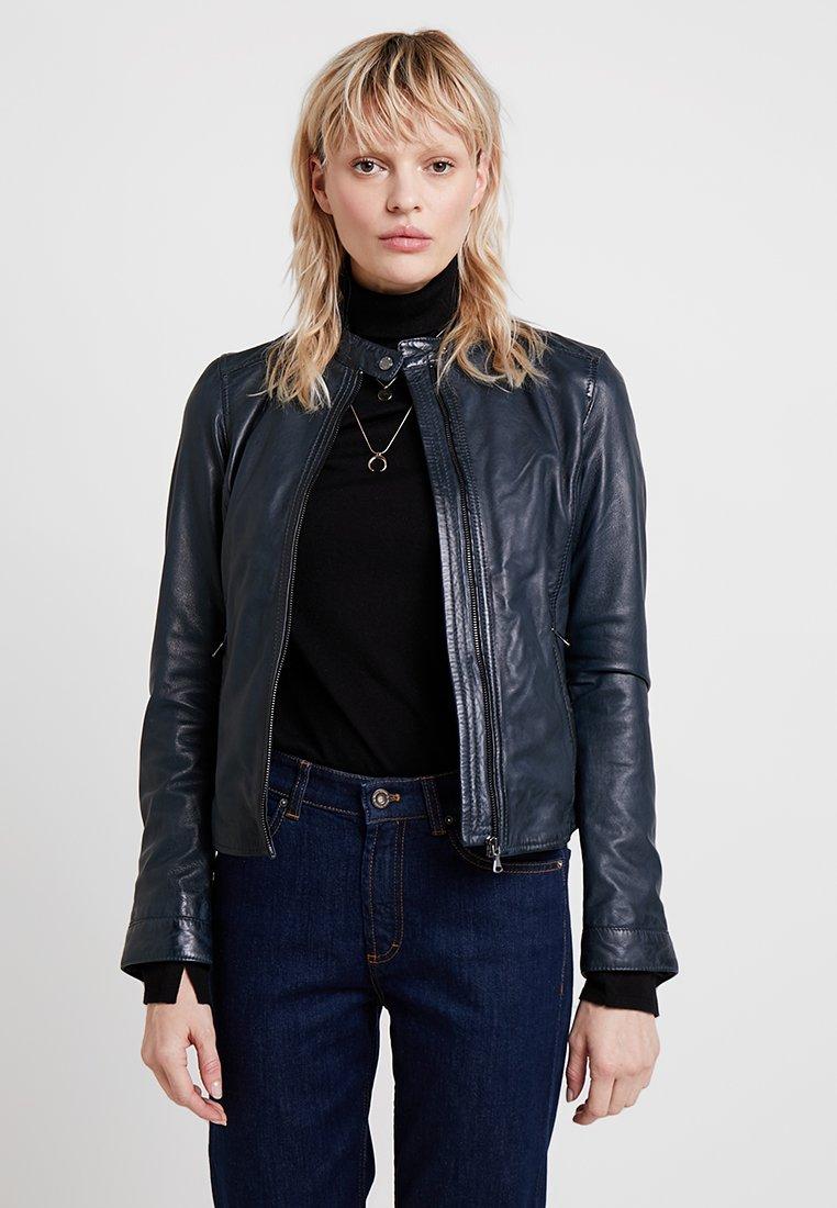 Oakwood - PARADIS - Leather jacket - navy blue