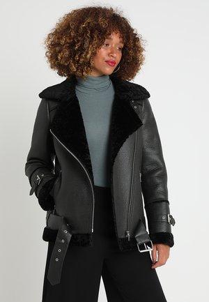 COMMUNITY  - Faux leather jacket - dark green