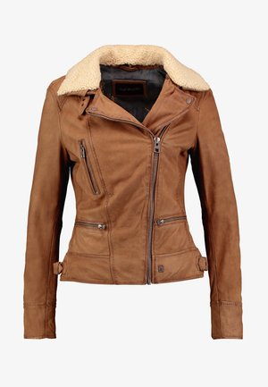 PROJECTION - Leather jacket - coffee